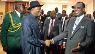 Idriss Déby Itno, président du Tchad et son homologue nigérian Goodluck Jonathan
