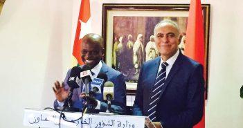 le ministre togolais des Affaires étrangères Robert Dussey et son homologue marocain Salaheddine Mezzouar lors d'une conférence au ministère marocain des Affaires étrangères