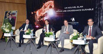 Mohamed Benchaaboun, PDG de la BCP, entouré par le management du Groupe