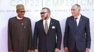 Mohammed VI du Maroc et Muhammadu Buhari du NIgeria, lors de la COP22 à Marrakech, le mardi 15 novembre 2016.
