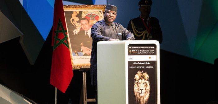 Le président de Sierra Leone prononçant le discours d'inauguration