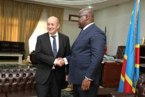 Le ministre des Affaires étrangères français Yves Le Drian, reçu à Kinshasa par le Président Félix A.Tshesekedi