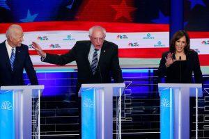 Joe Biden, Bernie Sanders et Kamala Harris sur le plateau du second débat de la primaire démocrate à Miami le 27 juin 2019