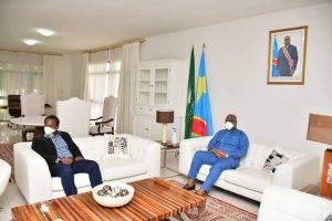 le président de la RDC, Félix Tshisekedi, dans l'un des salons de l'aéroport rénové.