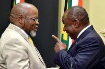 Gwede Mantashe, ministre sud-africain de l'Energie et des ressources minières et Cyril Ramaphosa, le Président de l'Afrique du Sud