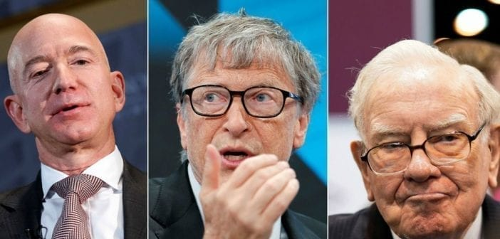 Jeff Bezos, Bill Gates et Warren Buffett.