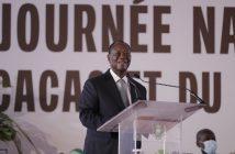 Le Président ivoirien Alassane Ouattara ouvrant la 7e édition de la Journée nationale du cacao et du chocolat