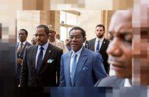 Le Président de la République de Guinée Equatoriale Théodore Obiang Nguéma en compagnie de son ministre des Mines et des Hydrocarbures, Gabriel Mbaga Obiang Lima.
