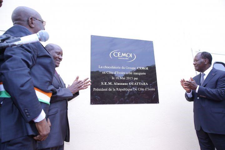 Le Président Alassane Ouattara lors de l'inauguration de l'usine de Chocolat CEMOI à Abidjan